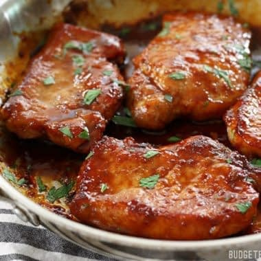 Glazed Pork Chops with Sauteed Apples